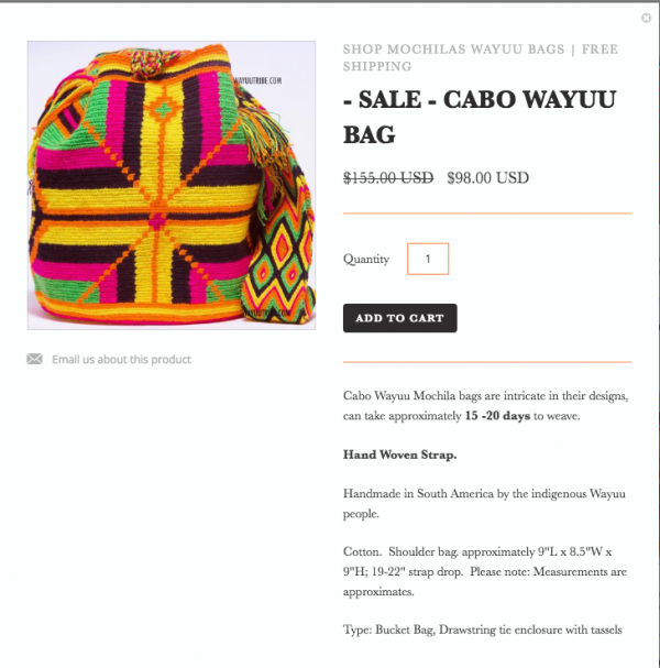 Screen Shot WayuuTribe website, where it acknowledges who made the bag and where does it come from.