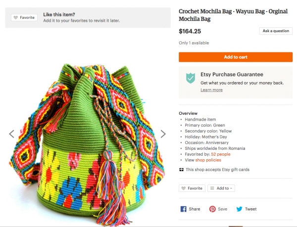 "Etsy shop based in Romania selling a bag as ""Wayúu."""