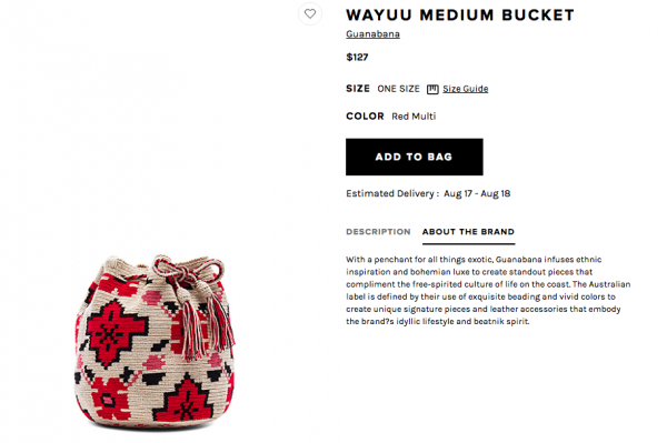 Screen shot of retail website selling Wayúu bags without mentioning the Wayúu tradition and tribe.
