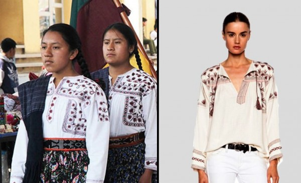 Comparison between Oaxacan blouses and Isabel Marant design. Photo courtesy of Mitú.