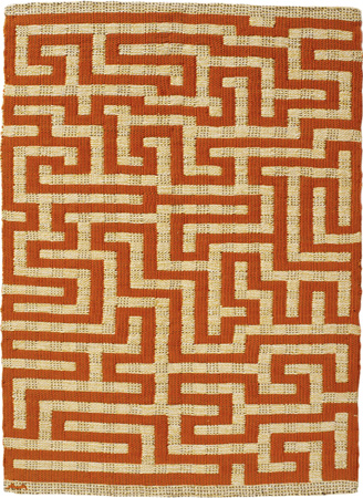 Anni Albers, Red Meander, 1954. Linen and cotton pictorial weaving, 52 x 37.5 com. Private collection.