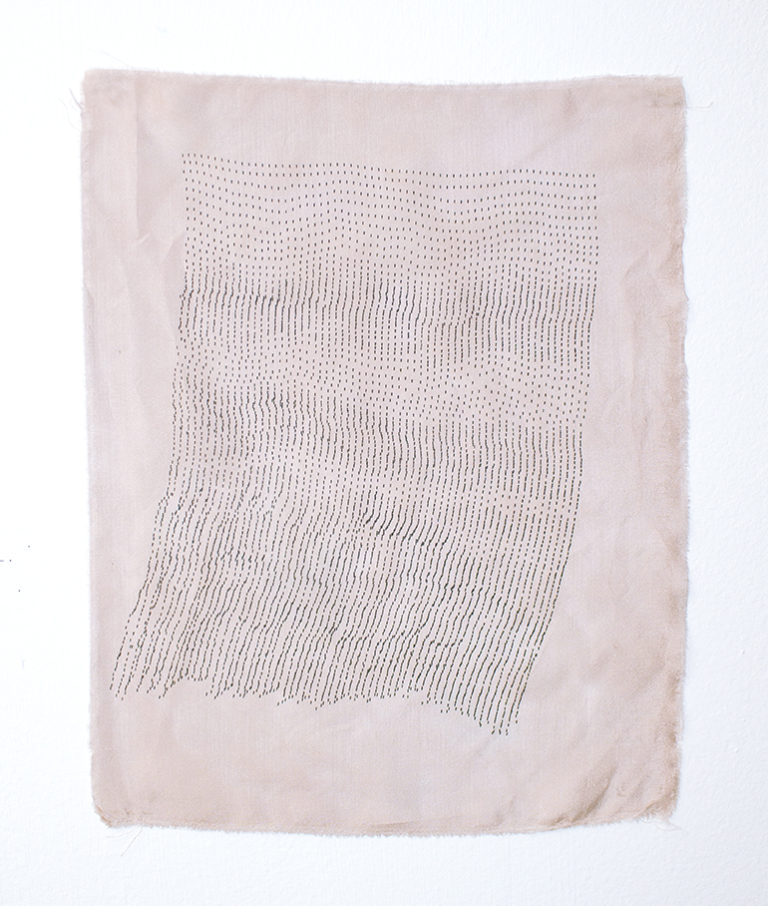 A light purple-gray silk fabric with small typewriter markings following closely to each other, resembling a thin curtain fluttering to the left.