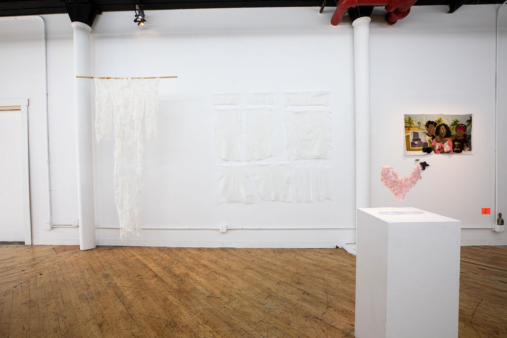 View of Subtle Speaks exhibition at the Textile Arts Center, showing the work of Aomi Kikuchi.
