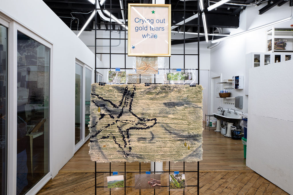"A wire grid display standing in the middle of the floor with the following images and objects attached to it: small laminated photos of rainforests and starfish; two gold-framed texts that read ""crying out gold tears while,"" and ""imagining what could've been""; and a hand-tufted mat. The mat depicts a starfish, and it has had a face painted onto it with gold embroidered tears falling from the eyes."