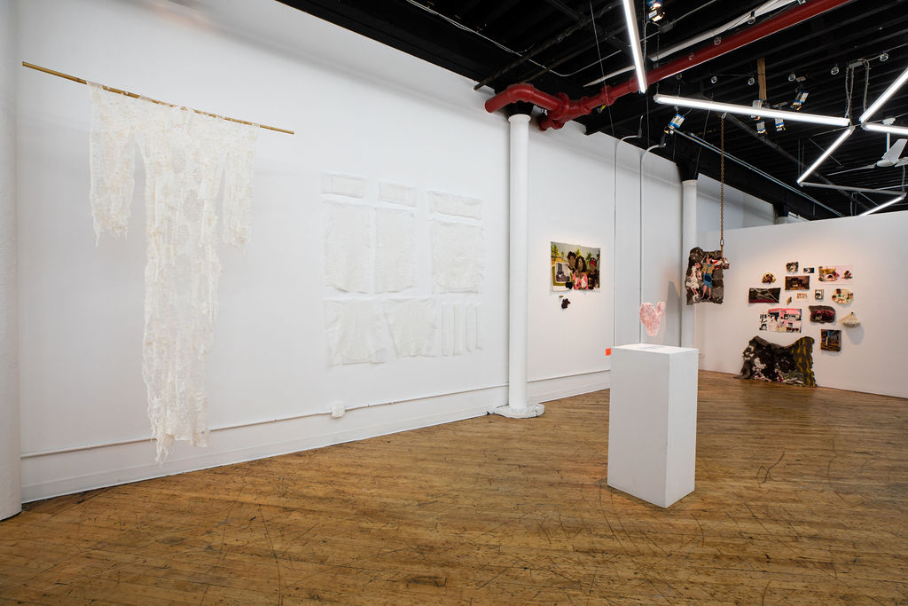 View of Subtle Speaks exhibition at the Textile Arts Center, showing the work of Aomi Kikuchi on the left and Melissa Joseph on the right