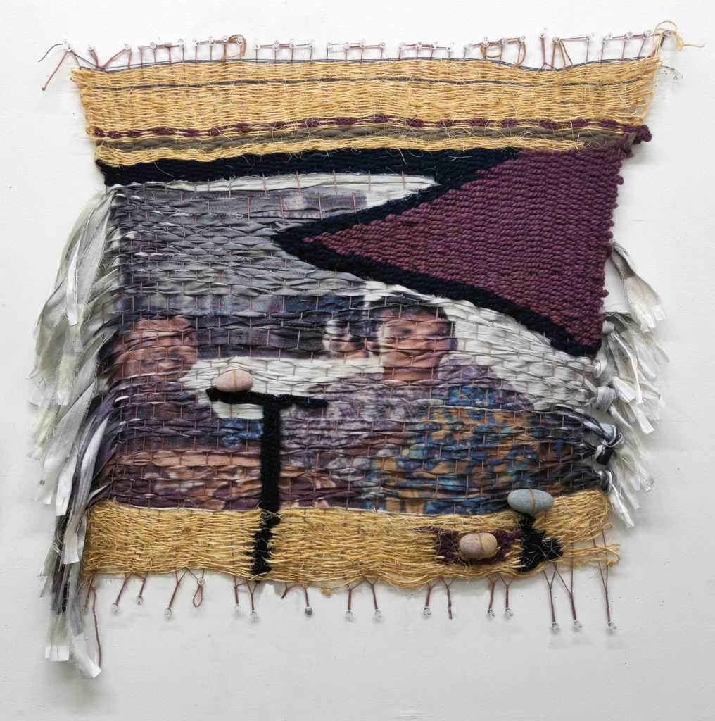 Example of Melissa's raw-edge multimedia weaving; depicts two members of the Indian side of her family