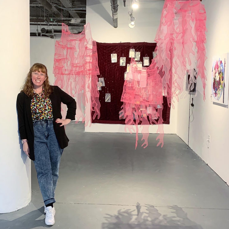 Elizabeth Tolson of her pink see through fabric sculptures.