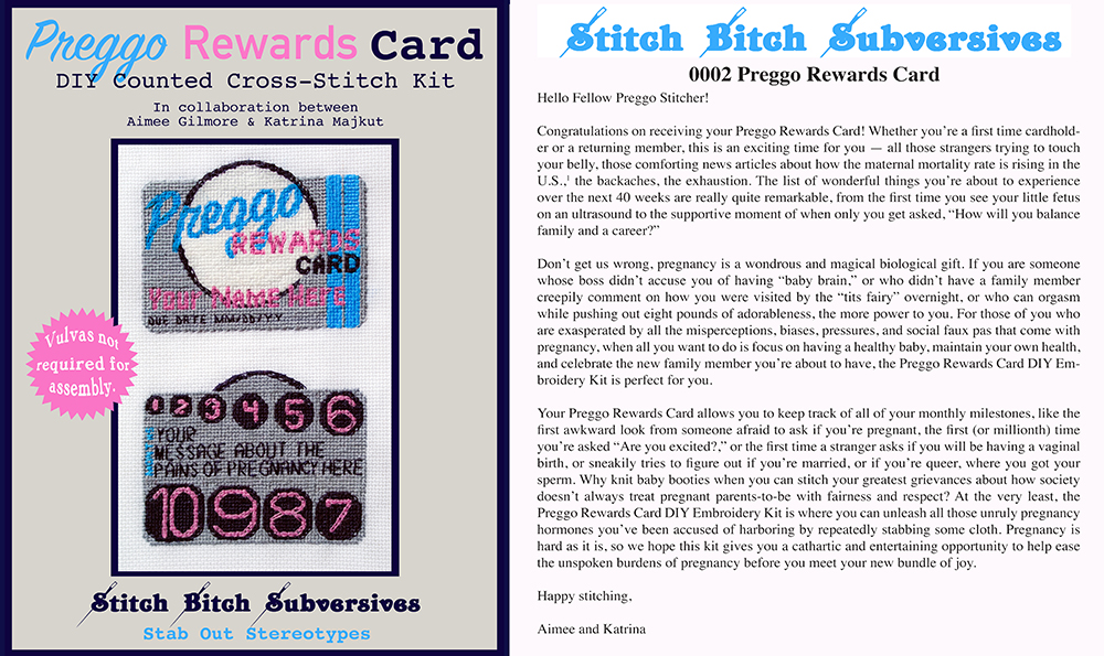 "cover and back panel of embroidery kit for a ""preggo"" rewards card"